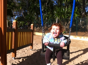 Taking Laura to the park is one of our favorite things to do. Can you guess why?
