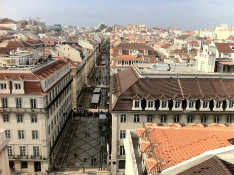 Looking down on beautiful and charming downtown Lisbon