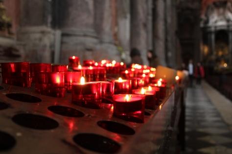 Candles inside church