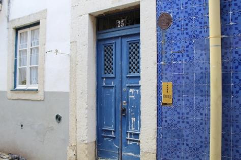 Blue door. Blue tiles.