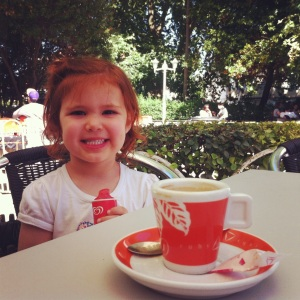 Enjoying a cup of coffee with my favorite little girl.