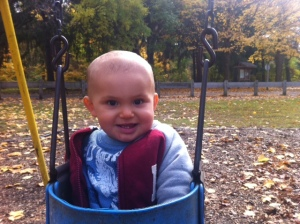 Samuel enjoying a nice fall day