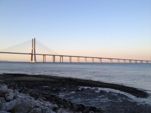 The Vasco da Gama bridge is an 11 mile bridge that links our side of the river with Lisbon.