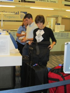 Checking our luggage for Portugal 5 years ago