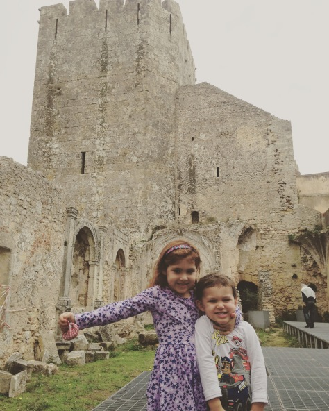 Laura and Samuel exploring a castle